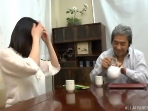 Japanese housewife in a blouse cheats on her passed out husband