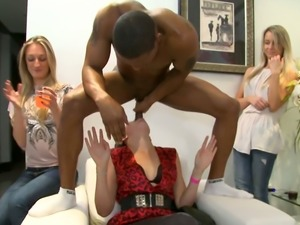 Black stud is getting his dick sucked deepthroat at the party