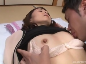Flat-chested Japanese housewife Asou Chiharu has her cunt drilled