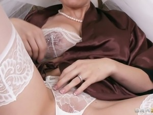Whore bride Allison Moore is masturbating and sucking dicks before wedding...