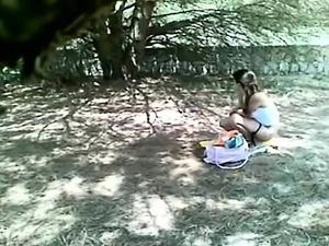 Owned outdoor in voyeur brunette teen