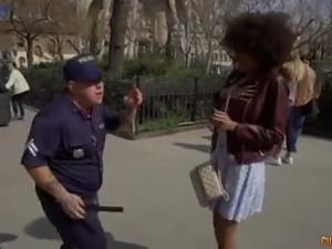 Dressed like a police officer dude finds two foreign girls to have sex with