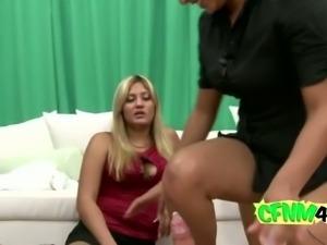 Brunette girl riding fat cock on floor