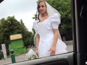 Pretty Bride With A Shaved Pussy Enjoying A Hardcore Missionary Style Fuck In...