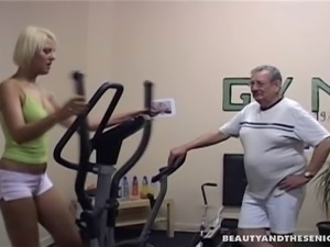 Young lady fucked by her old gym trainer