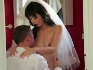 Loving married couple is having passionate sex at the wedding night