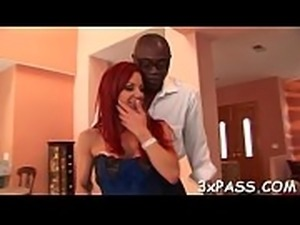 Gorgeous bitch is drilled in chocolate hole after giving nice blow