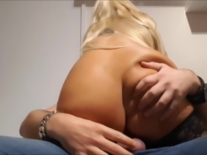 Blonde hotwife fucks with my big fat dick anal bareback