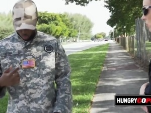 Fake ARMY dude with a real big dick